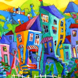 MN108 64x104 anetteandersenart skæve huse glade farver anette andersen 8400 kr