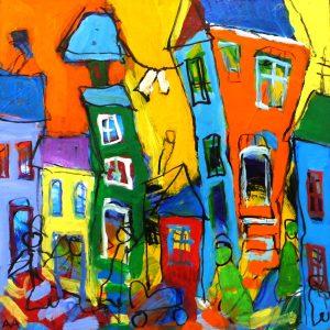 MN125 34x34 anetteandersenart skæve huse glade farver anette andersen 2100 kr